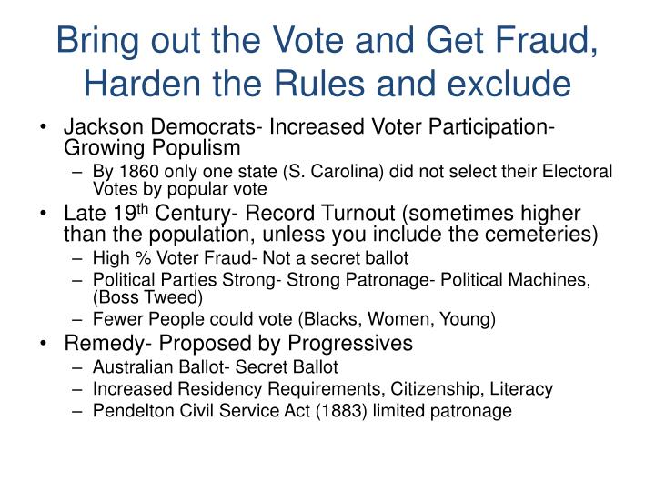 Bring out the Vote and Get Fraud, Harden the Rules and exclude