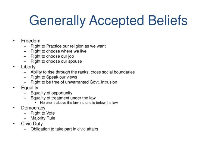 Generally accepted beliefs