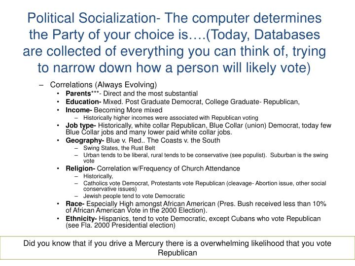 Political Socialization- The computer determines the Party of your choice is….(Today, Databases are collected of everything you can think of, trying to narrow down how a person will likely vote)