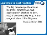 lag times to best practice