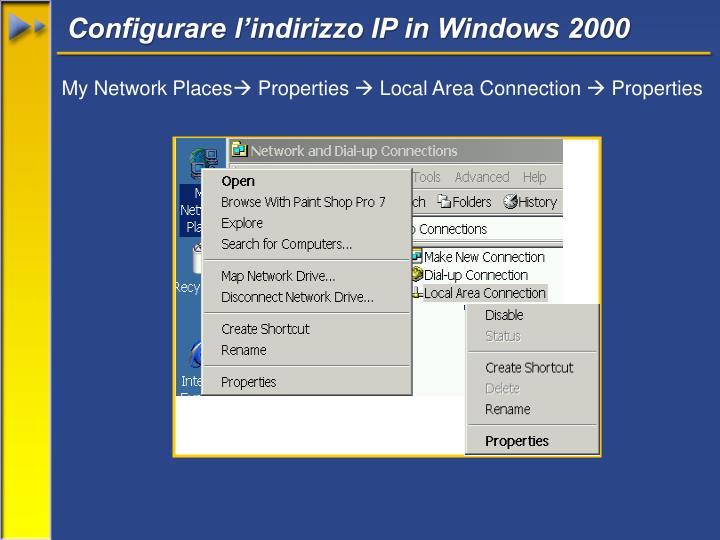 Configurare l'indirizzo IP in Windows 2000