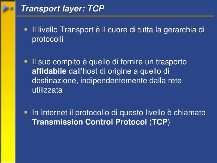 Transport layer: TCP