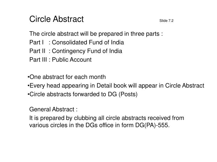 The circle abstract will be prepared in three parts :