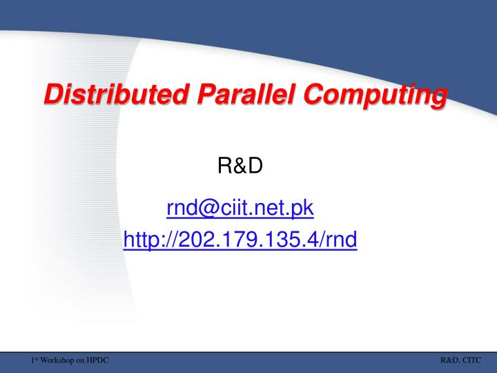 distributed parallel computing n.