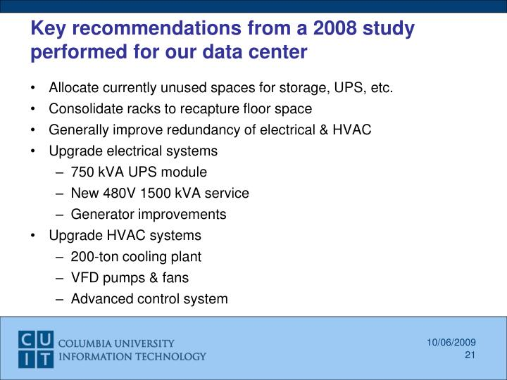 Key recommendations from a 2008 study performed for our data center