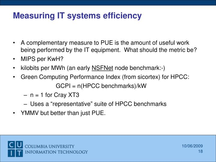 Measuring IT systems efficiency