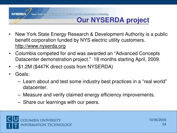 Our NYSERDA project