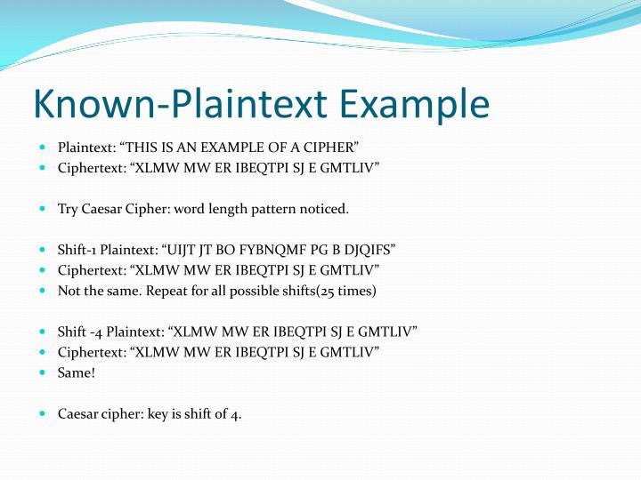 Known-Plaintext Example