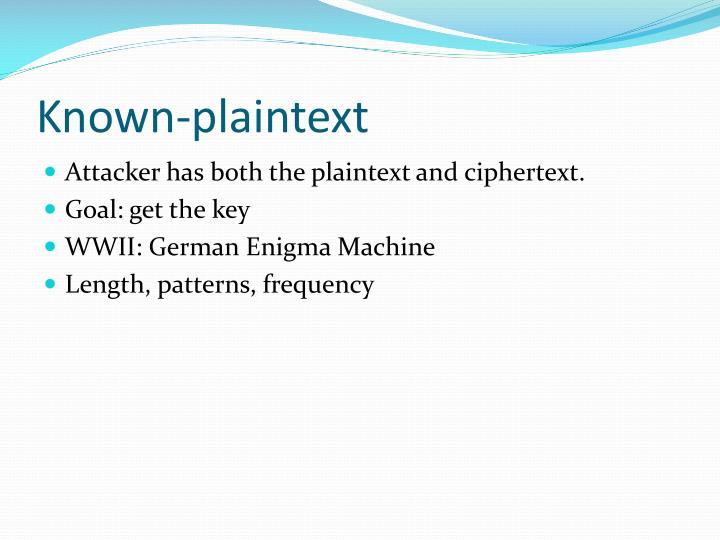 Known-plaintext