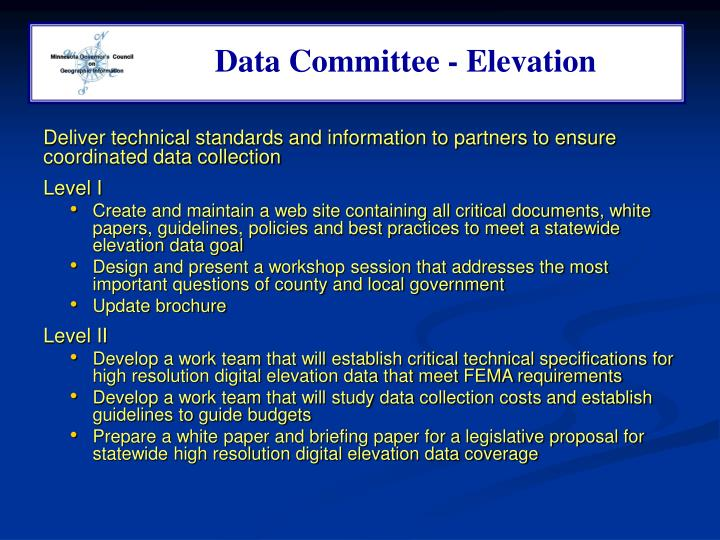 Data Committee - Elevation