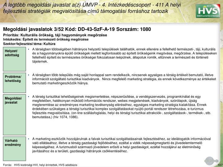 Megoldási javaslatok 3/52 Kód: DD-43-SzF-A-19 Sorszám: 1080
