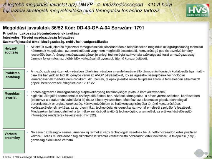 Megoldási javaslatok 36/52 Kód: DD-43-GF-A-04 Sorszám: 1791