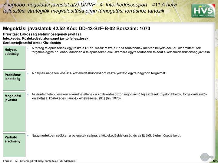 Megoldási javaslatok 42/52 Kód: DD-43-SzF-B-02 Sorszám: 1073