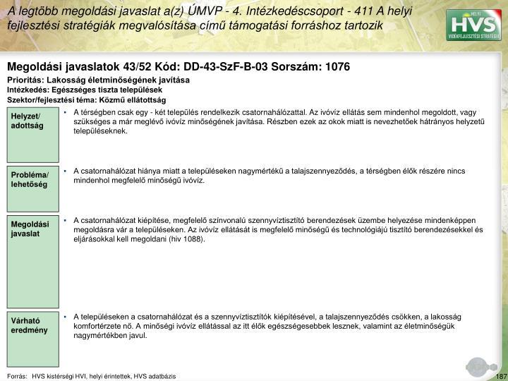Megoldási javaslatok 43/52 Kód: DD-43-SzF-B-03 Sorszám: 1076