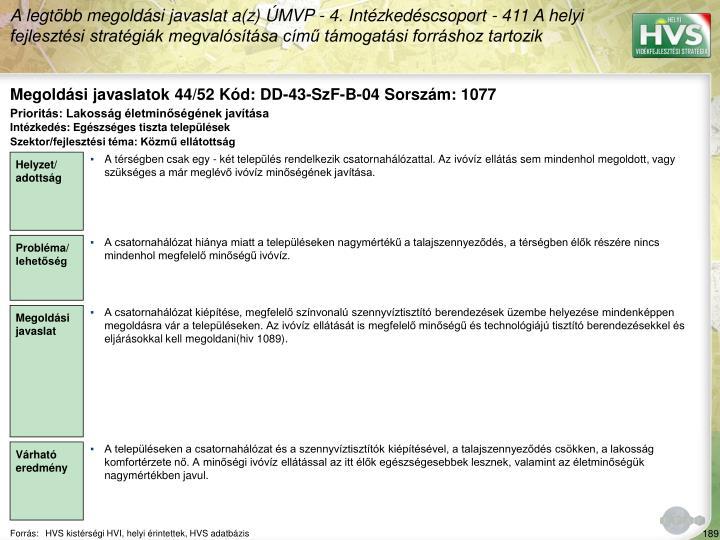 Megoldási javaslatok 44/52 Kód: DD-43-SzF-B-04 Sorszám: 1077