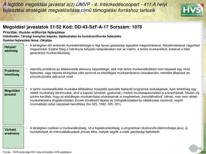 Megoldási javaslatok 51/52 Kód: DD-43-SzF-A-17 Sorszám: 1078