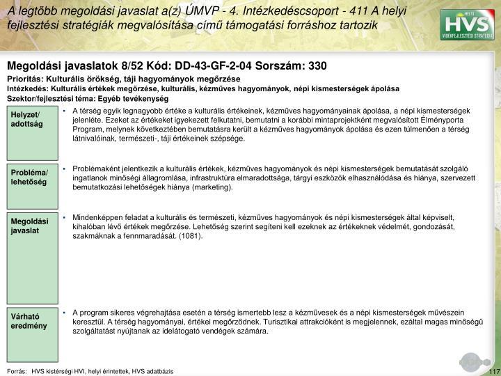 Megoldási javaslatok 8/52 Kód: DD-43-GF-2-04 Sorszám: 330