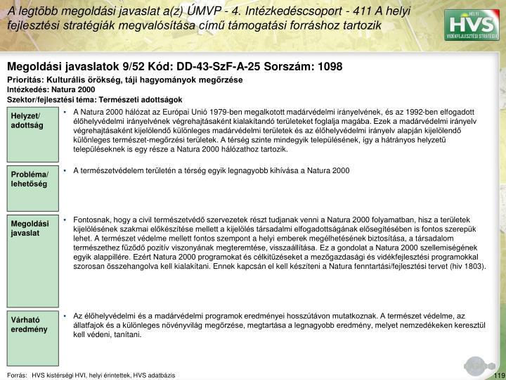 Megoldási javaslatok 9/52 Kód: DD-43-SzF-A-25 Sorszám: 1098