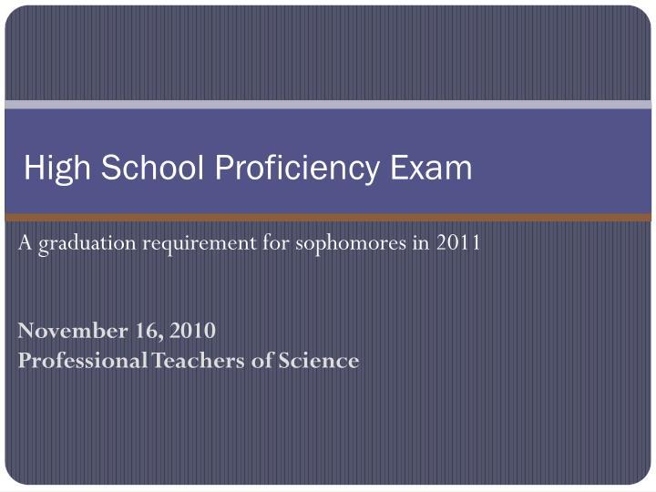 high school proficiency exam n.