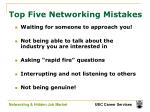 top five networking mistakes