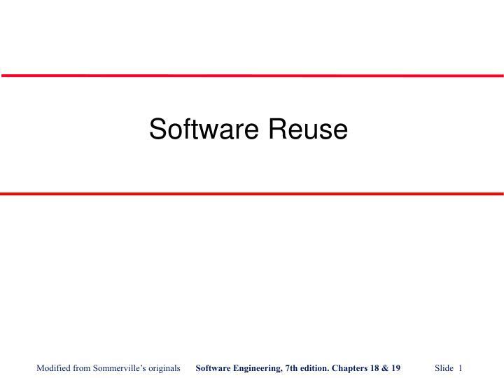 software reuse n.
