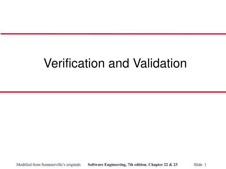 verification and validation n.