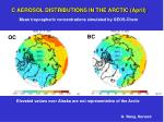 c aerosol distributions in the arctic april