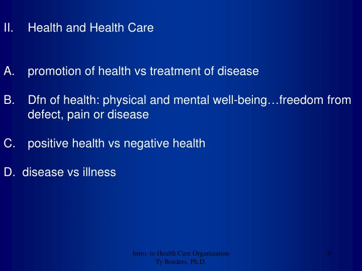 Health and Health Care