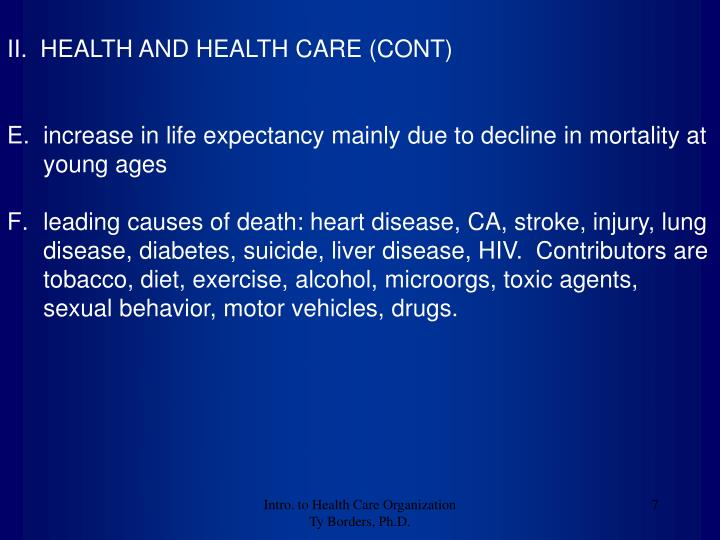II.  HEALTH AND HEALTH CARE (CONT)