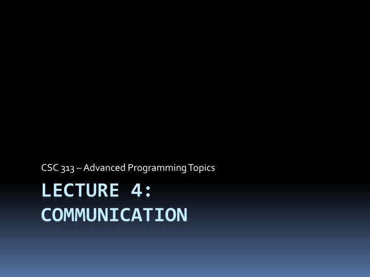 Csc 313 advanced programming topics