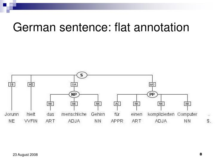 German sentence: flat annotation