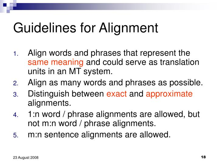 Guidelines for Alignment