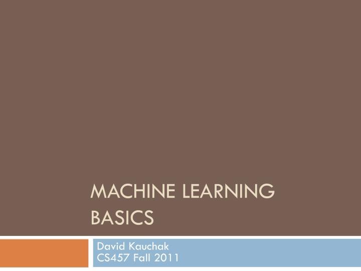 machine learning basics n.