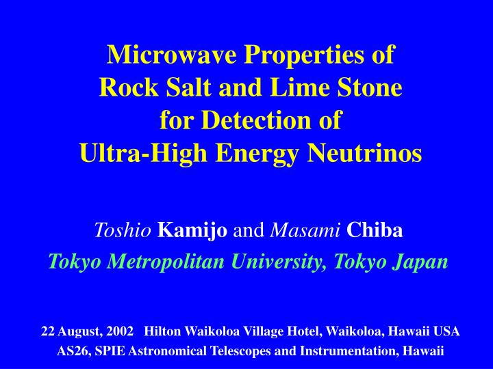microwave properties of rock salt and lime stone for detection of ultra high energy neutrinos n.