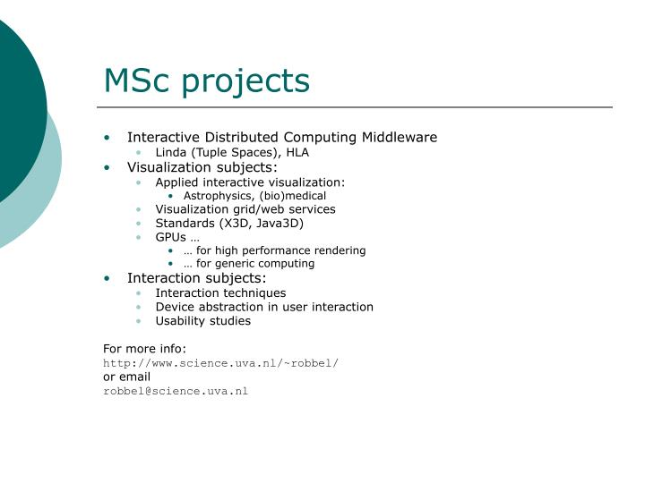 MSc projects
