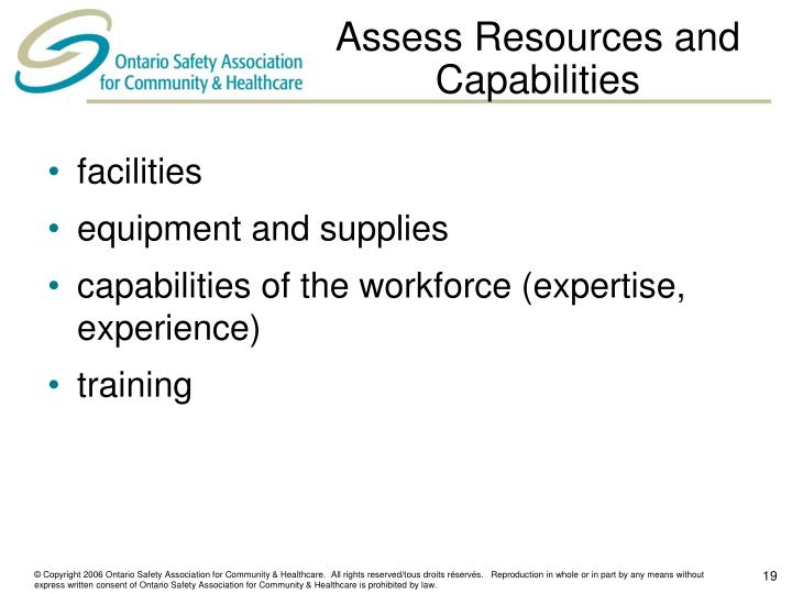 Assess Resources and Capabilities