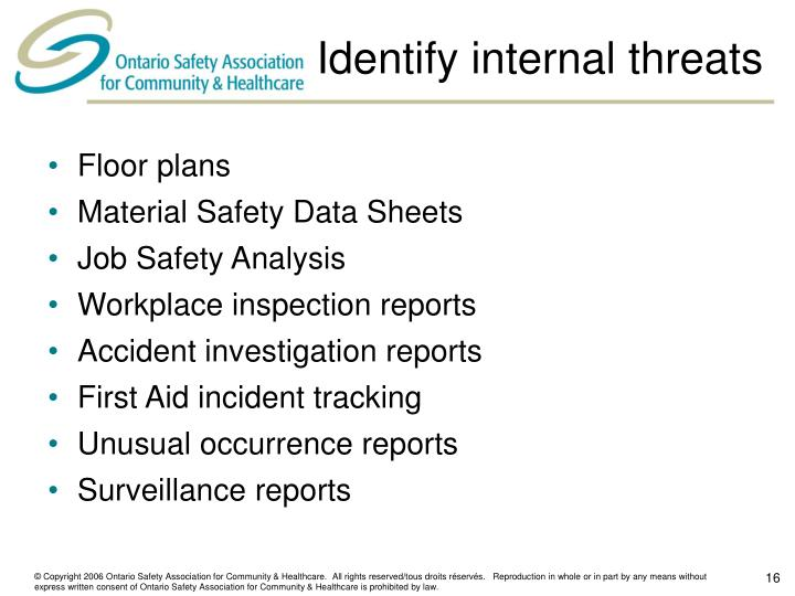 Identify internal threats