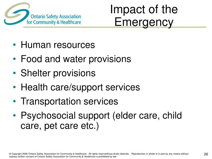 Impact of the Emergency