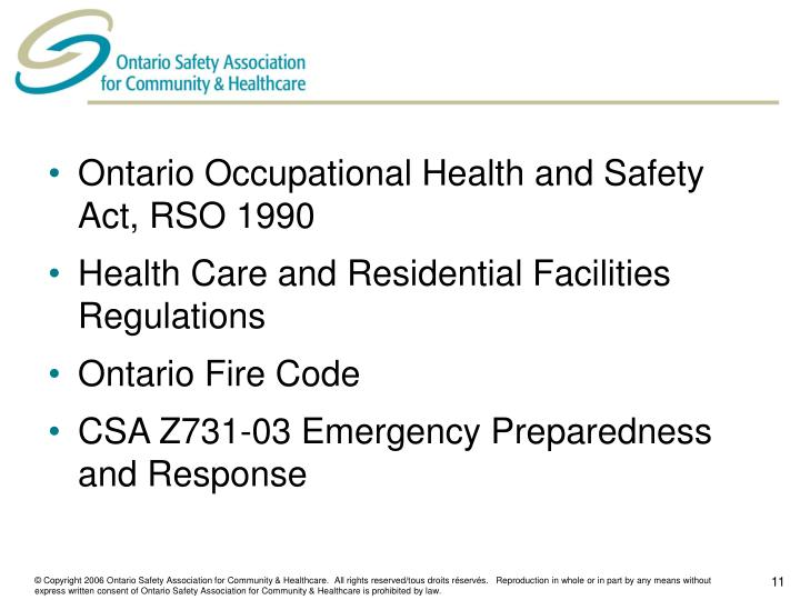 Ontario Occupational Health and Safety Act, RSO 1990