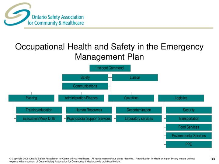 Occupational Health and Safety in the Emergency Management Plan