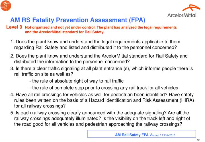 AM RS Fatality Prevention Assessment (FPA)