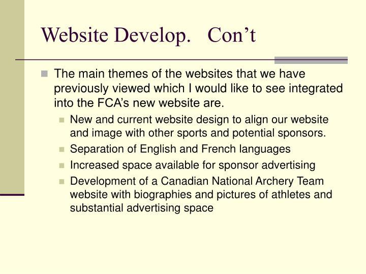 Website Develop.   Con't
