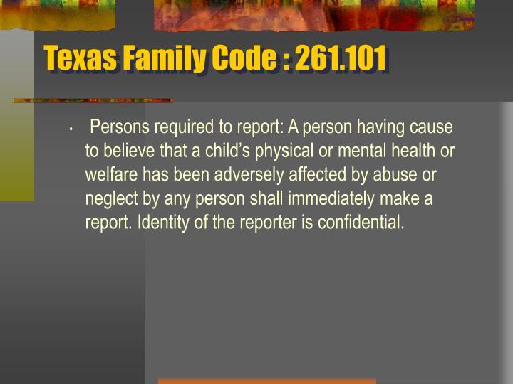 Texas Family Code : 261.101