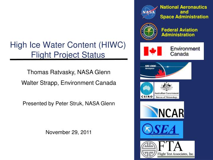 high ice water content hiwc flight project status n.