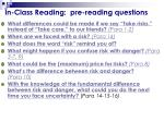 in class reading pre reading questions