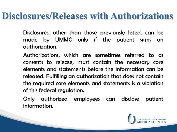 Disclosures/Releases with Authorizations