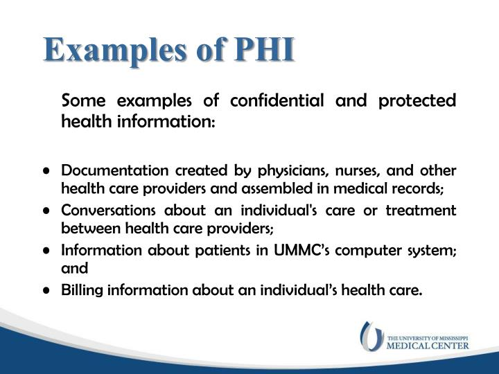 Examples of PHI