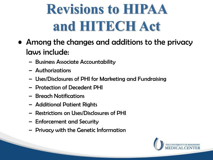 Revisions to HIPAA