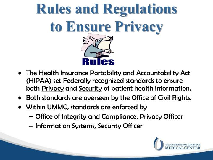 Rules and regulations to ensure privacy