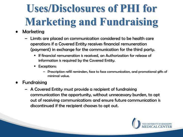 Uses/Disclosures of PHI for Marketing and Fundraising